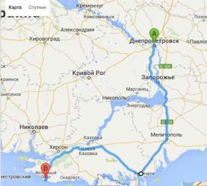 Поездки в Железный порт из Днепропетровска. Маршрут рейса