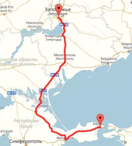 Маршрут Керчь-Запорожье
