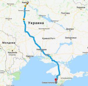 Карта поездки Киев-Севастополь