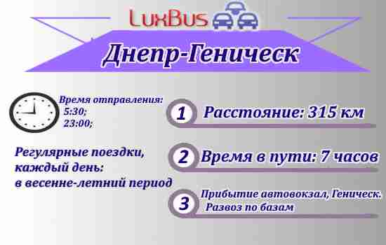 Поездки Днепр-Геническ