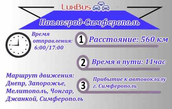 Маршрут Павлоград-Симферополь