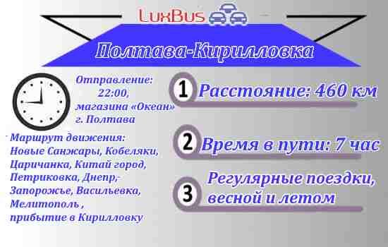 Поездки Полтава-Кирилловка